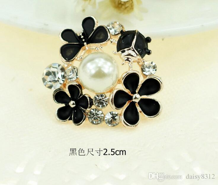 25mm Alloy Rhinestone Pearl Flower Beads Button For Scrapbooking Craft DIY Hair Clip Fashion Accessories
