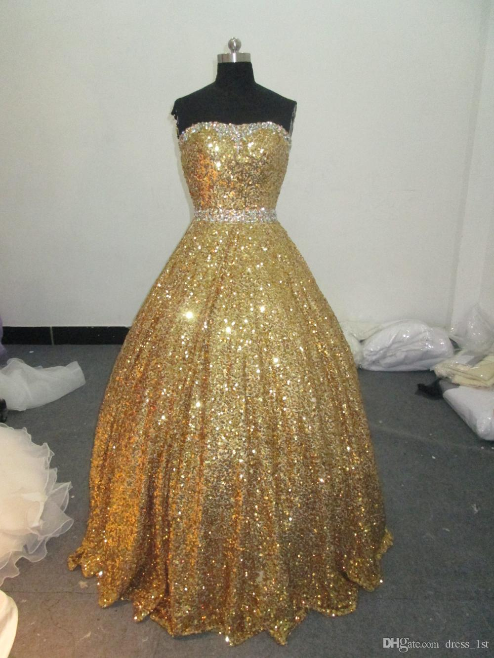 Real Image Bling Bling Prom Dresses 2015 New Strrapless Gold Sequined Fitted Beaded Back Zipper Sweep Train For Party Evening EN9113