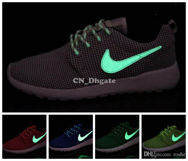 f81e0898687b Nike Roshe Run Grey Pink Red Blue Orange Glow In The Dark Swoosh Men Women  Running Shoes Cheap Roshes Run Sport Trainers 36 44 Running Shoes Mens  Womens ...