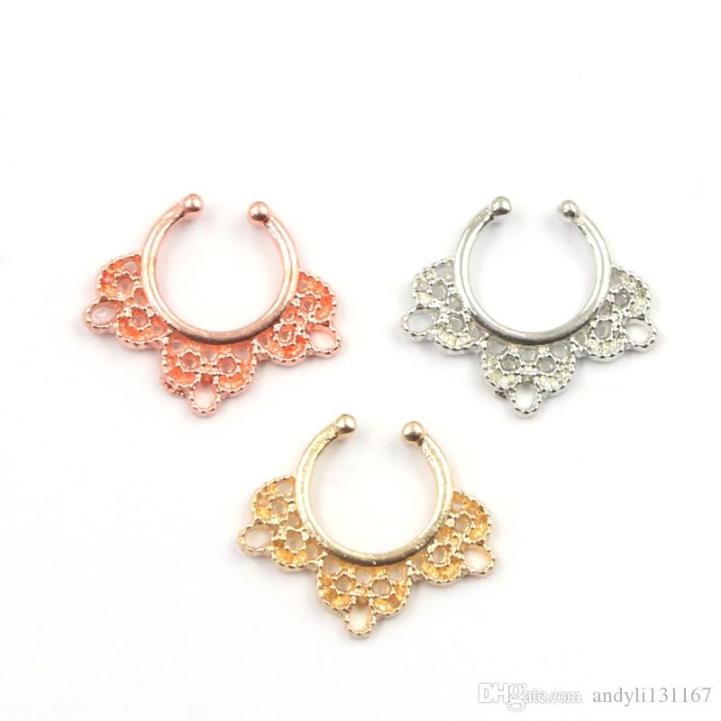 mixed crystal faux septum ring nose hoop alloy gold and silver clip on fake nose ring piercing for women N0037