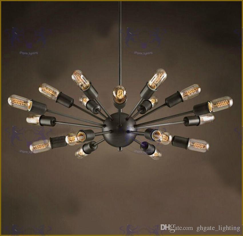 2017 ثريات الأقمار الصناعية خمر الحديد المطاوع قلادة ضوء كروية العنكبوت مصباح اديسون قلادة الإضاءة