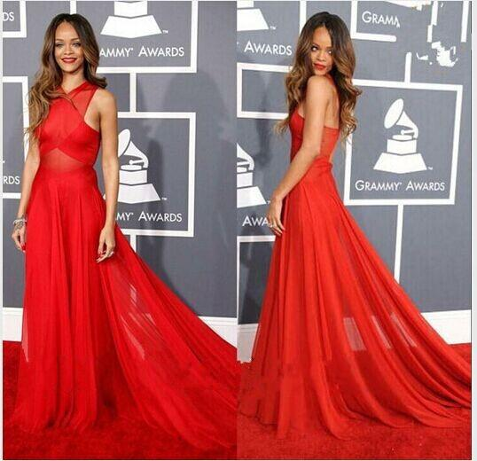 Платья из шифона красные в пол