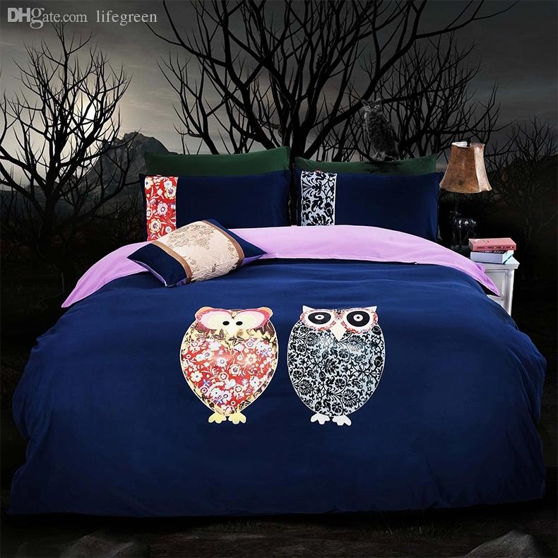 Wholesale Dark Blue Owl Comforter Queen Twin King Size Korean Design 100%cotton  Bed Sheets Oil Painting/Bedding Set King Size Fitted Sheet Tropical Bedding  ...