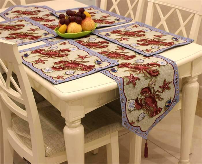 Set Of 1 Table Runner And 4 Placemats  The Crab Starfish Pattern Soft Boutique Art Jacquard Design Decoration Mat Table Cloth Cup Mat Small Table Runner ... & Set Of 1 Table Runner And 4 Placemats  The Crab Starfish Pattern ...