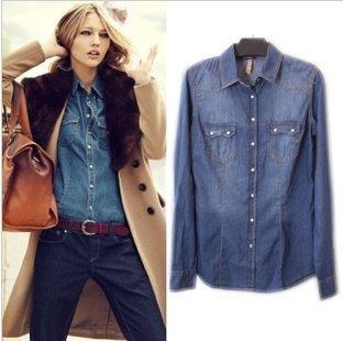 2013 New Women Denim Shirt Long Sleeves Western Slim Denim Blouse ...