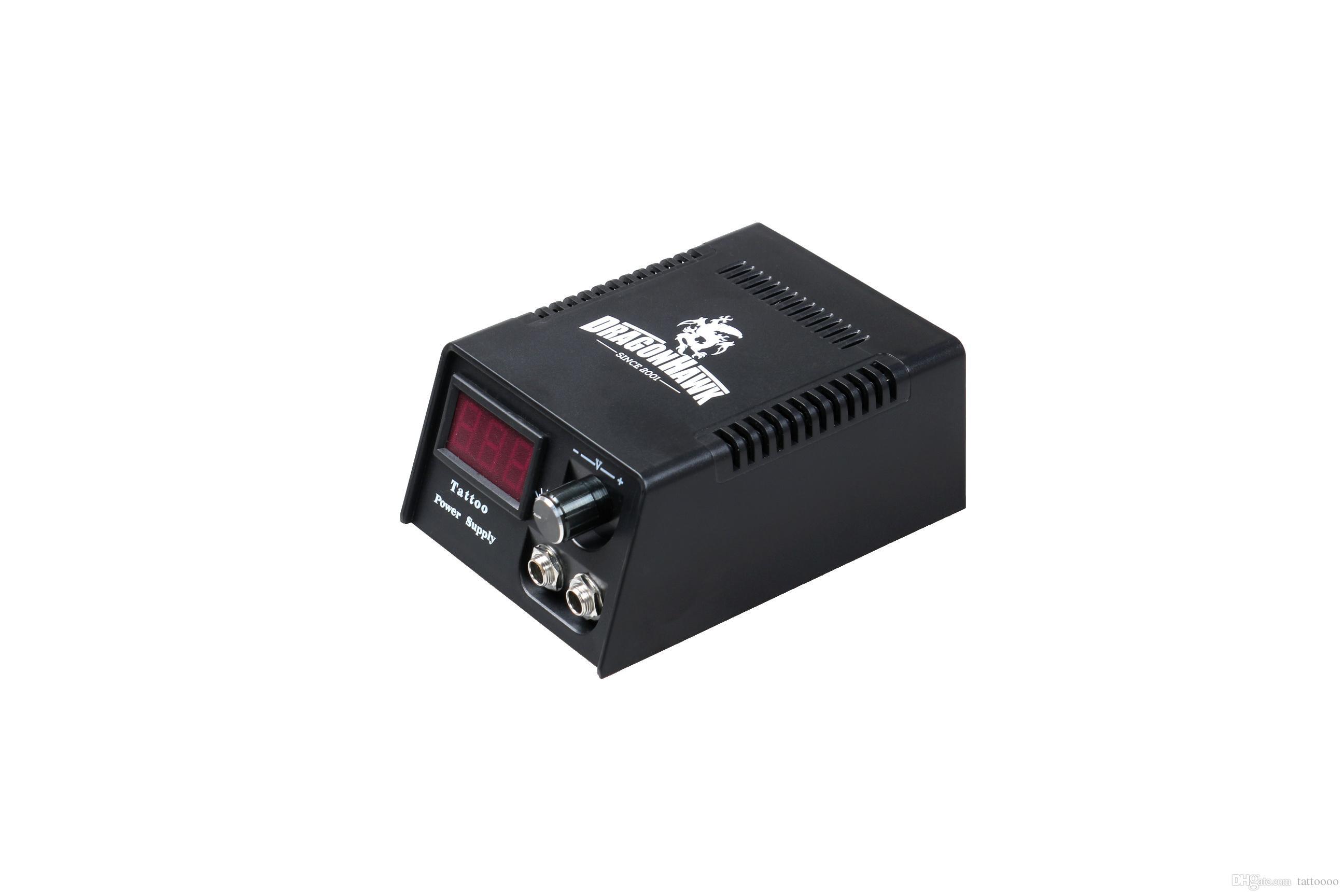 LCD 디지털 듀얼 머신 문신 전원 공급 장치 US 전원 플러그 A ++ 품질 키트 총 발 페달 클립 코드 TNT 무료 배송
