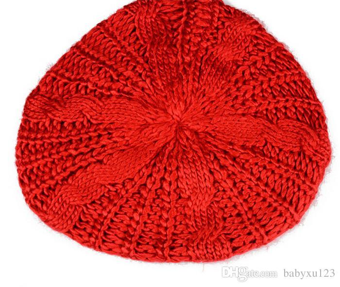 HOT sale Ski Cap Women Girls Knitted Braided Beanie Warm Hat Baggy Beret Chunky Cotton CAP D463