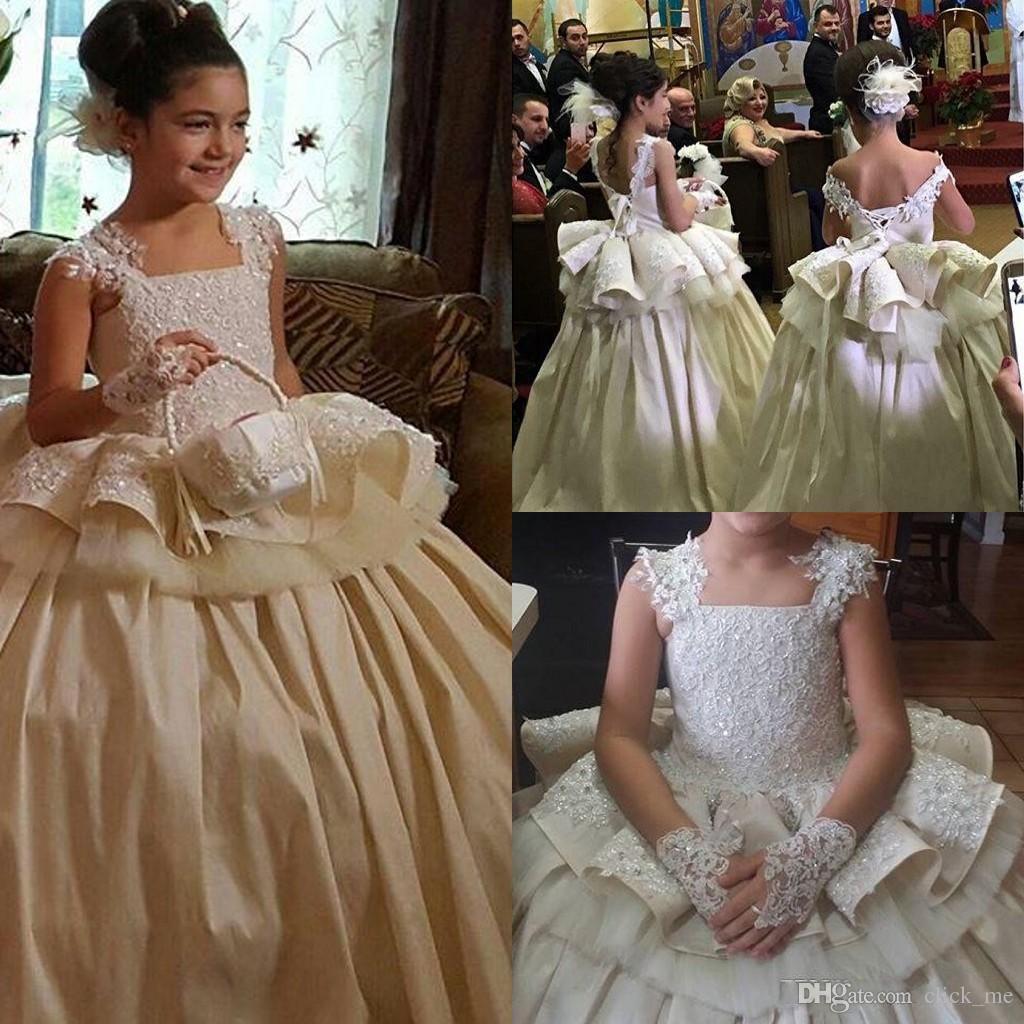 65162c75e Pageant Dresses Kids Formal Wear Square Lace Appliques Peplum Flower Girls  Dresses For Weddings Party Birthday Formal Wear Communion Dress 2t Pageant  ...