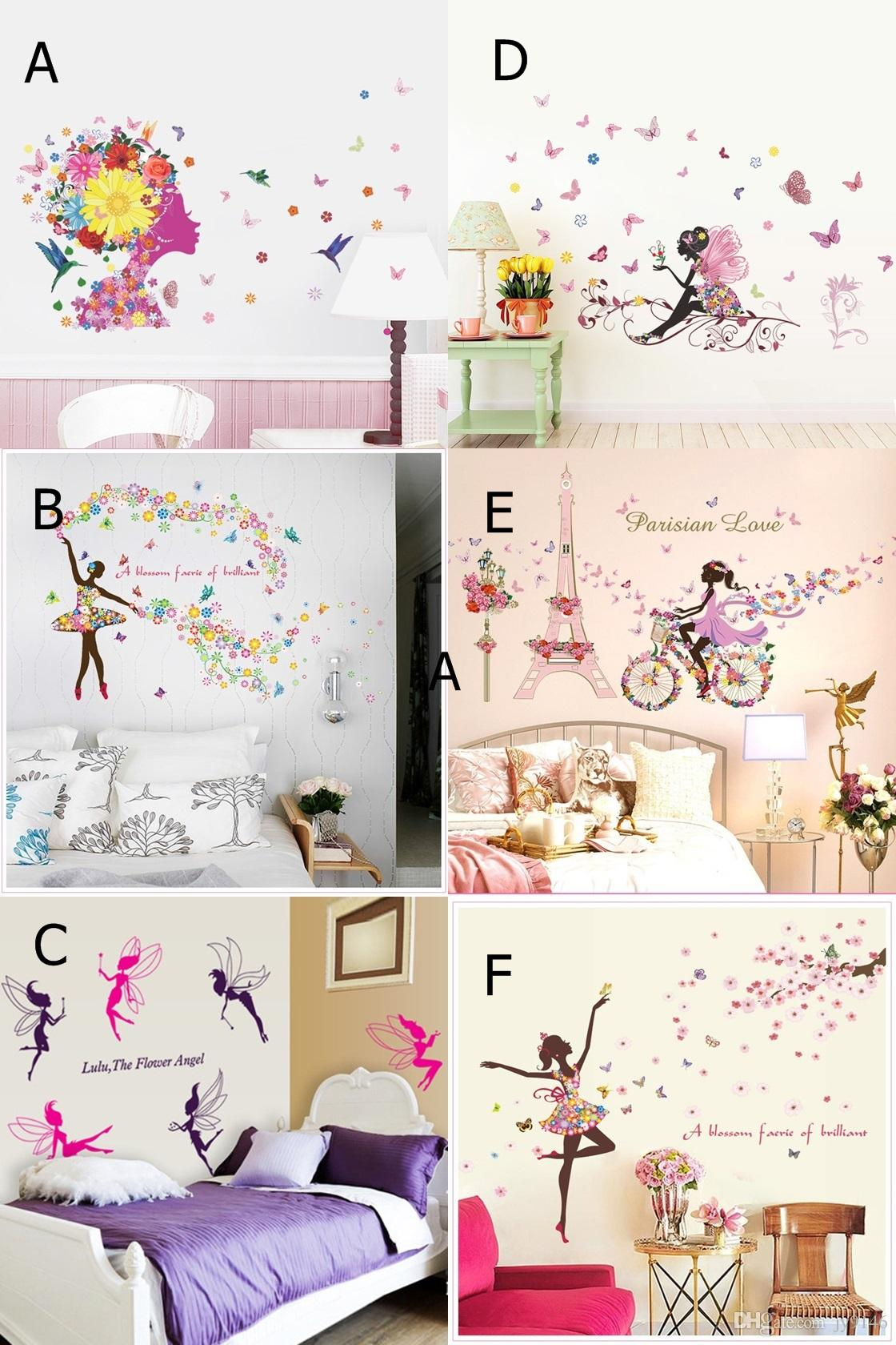 Flower Girls Wall Art Stickers DIY Girls Wall Decals Elf Wallpaper ...