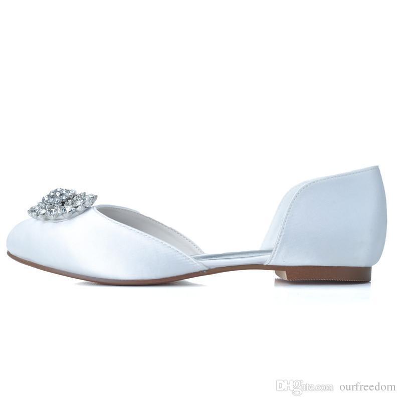 9872-14 Lindo Flora Zapatos de Boda de Cristal Pisos Blanco Rosa Mujeres Zapatos de Dama de Honor Zapatos de Fiesta por la Noche 2019 Venta Caliente