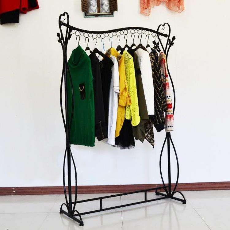 wrought iron clothes rack store display goods shelf hanger black white shelf tan loading clothes fall to the ground from jiangdu dhgatecom - Clothes Racks
