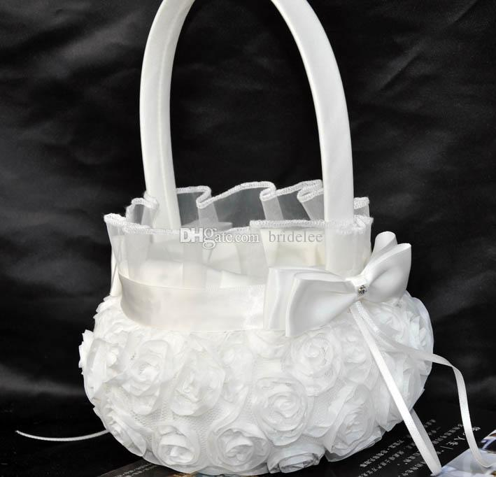 2016 Trendy Fashion Wedding Ceremony Party Love Case Satin Bowknot Rose Flower Girl Basket & Wedding Guest Book& Pen Set &Ring Pillow
