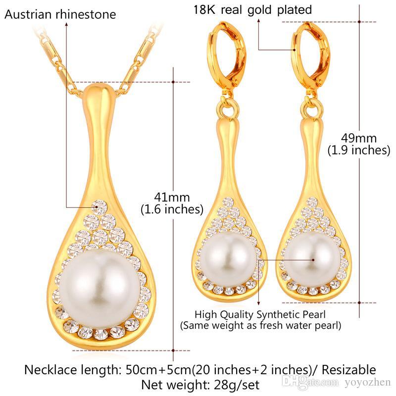 Sistemas de la joyería de la perla para la joyería de moda de las mujeres 18K Sistemas del collar de la aretes de la perla del Rhinestone del oro real fijado al por mayor