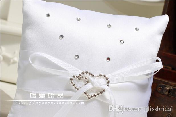 Ribbon White rhinestone Crystal Hear Style Ring Pillows Romantic Wedding Bridal And Groom Pillows For Ring