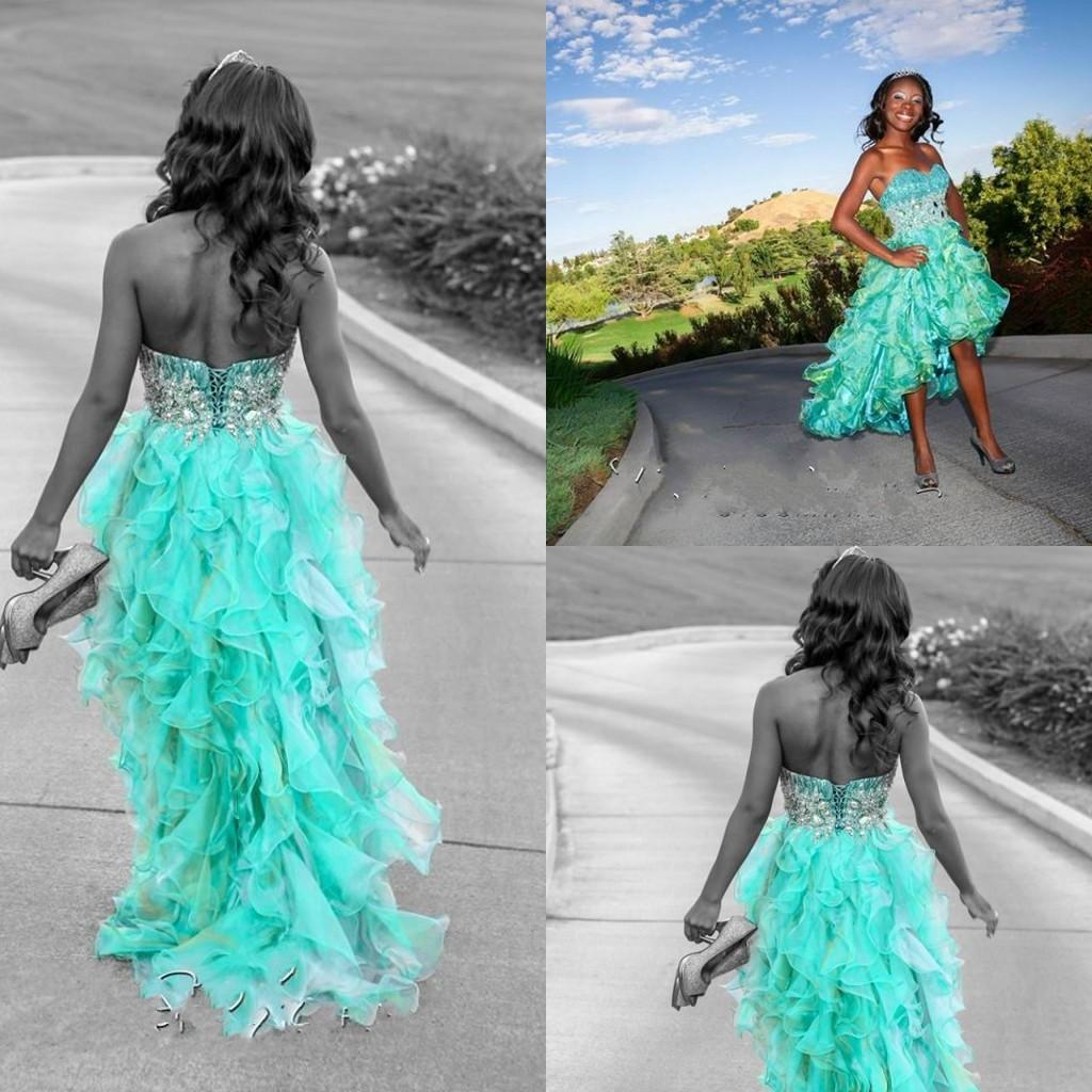 Modest Corset Back High Low Prom Dresses Blue Organza Puffy Cocktail ...