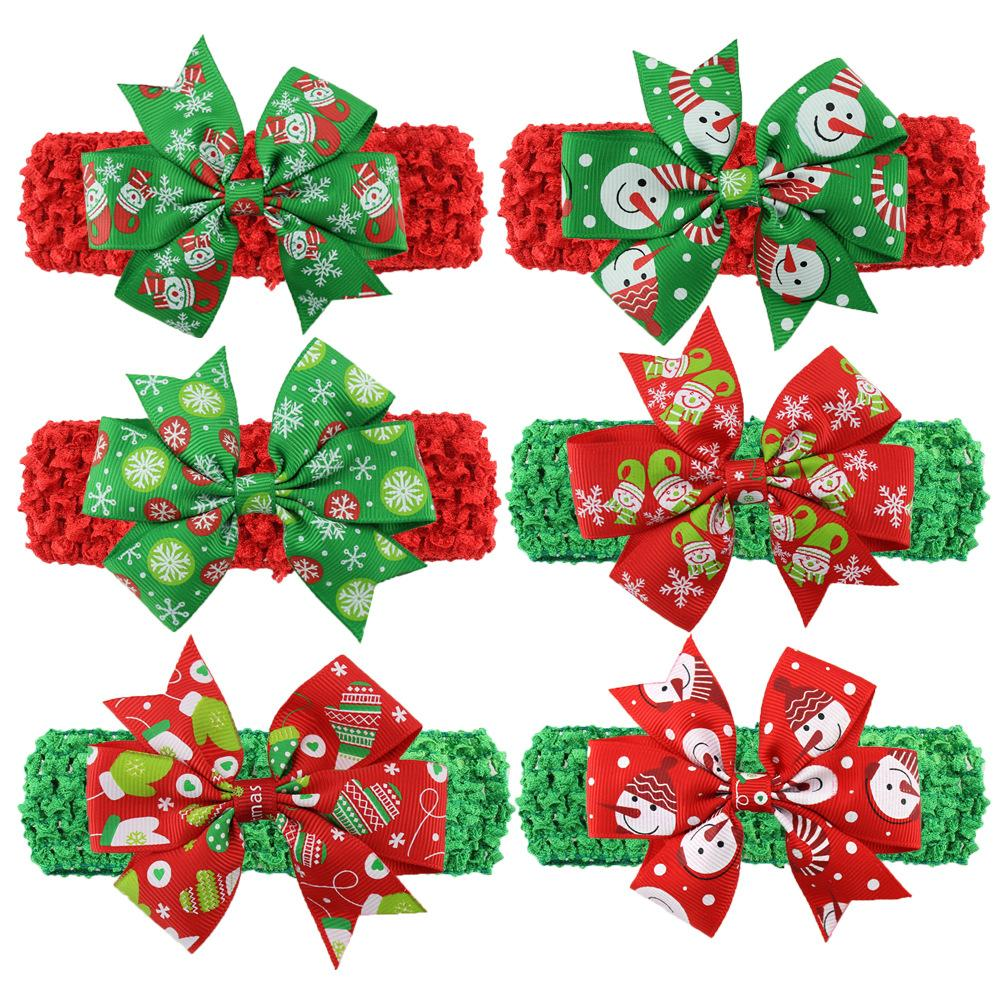 Be best hair accessories for baby - New Christmas Baby Hair Accessories Girls Boutique Tiara Headbands For Girls Fabric Flower Elastic Headband Ribbon Bow Headbands 6styles Best Hair