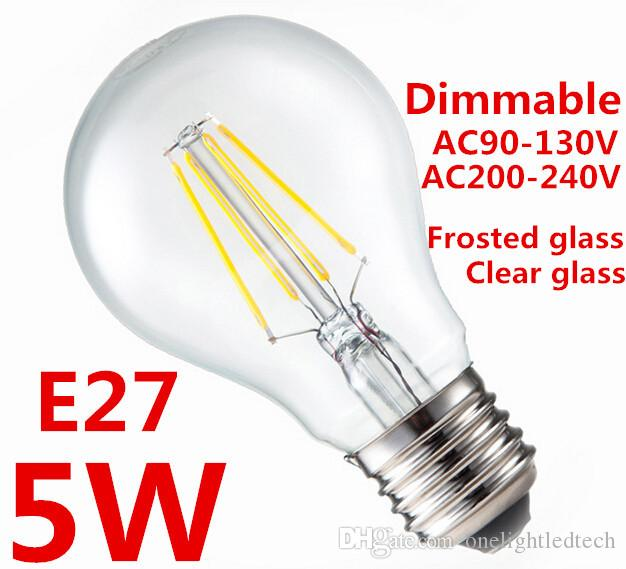 1pcs Led Bulb Lamp E27 Bulb AC110V/220V 5W 8W 10W Dimmable LED Filament Led  Bulbs Clear/Frosted warm white LED Filament Lamps