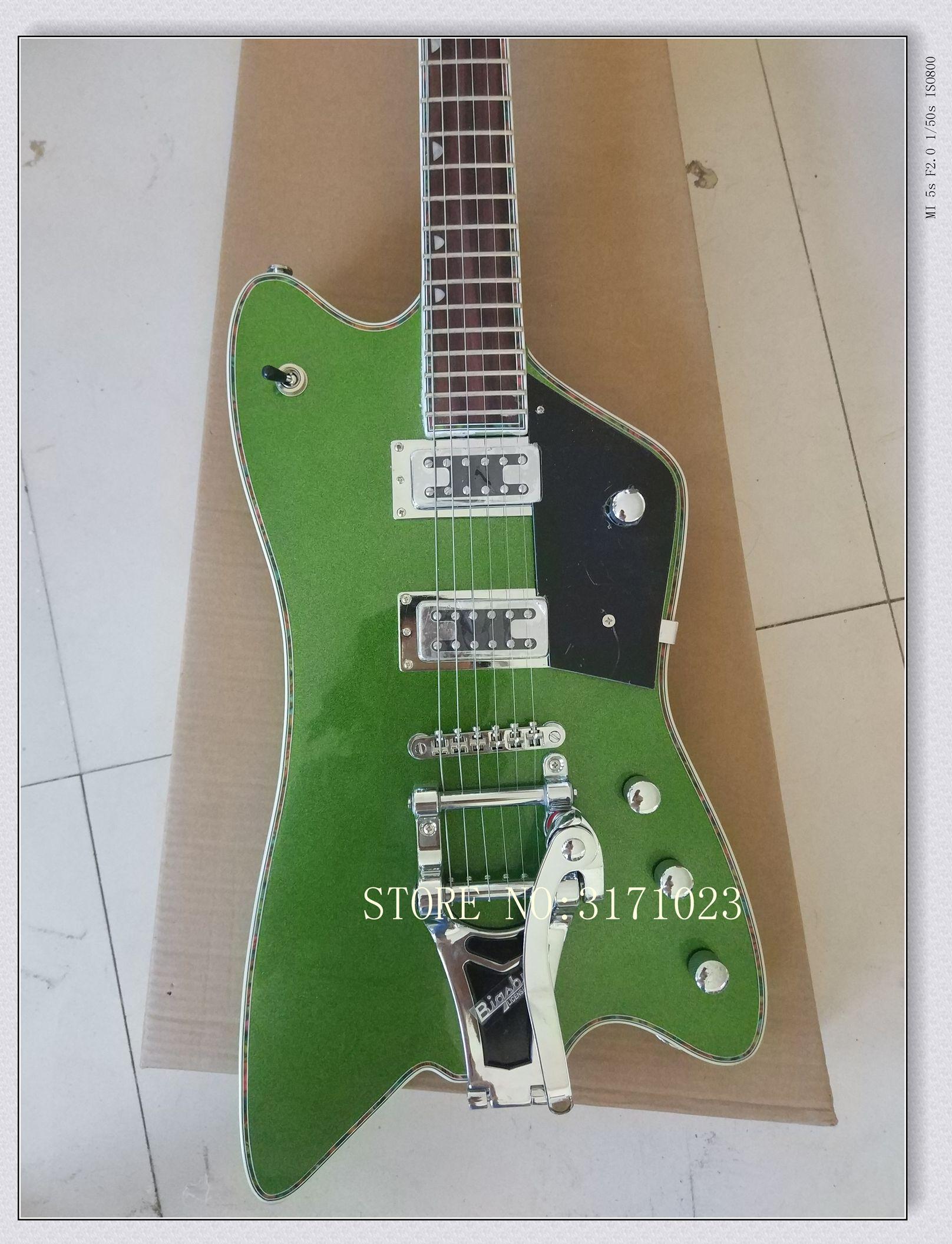 Rare Gre G6199 Billy-Bo Jupiter Verde metal Guitarra Elétrica Chrome Hardware Branco Encadernação Do Corpo