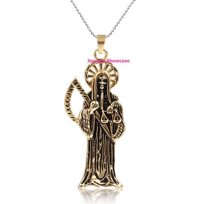 2018 gold plated stainless steel santa muerte holy death grim 2018 gold plated stainless steel santa muerte holy death grim reaper pendant necklace from jdh2015 654 dhgate mozeypictures Gallery