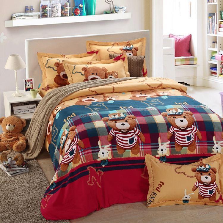 Teddy Bear Bed Sheets Bedding Set Kids King Queen Size Double Cartoon Quilt  Duvet Cover Bedspreads Bedroom Linen Cotton Thick Western Bedding Supplies  ...