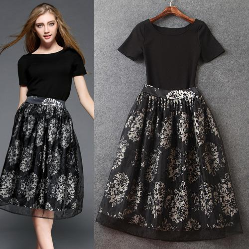 5. 2016 Latest Summer Black Top And Skirts Two Pieces Suits Real