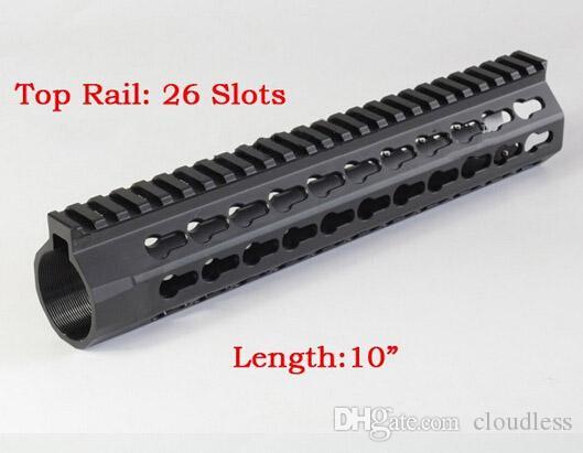 Sistema de riel superior de una sola pieza Slim Float Handguard KeyMod Linterna de alta calidad con rhinestone para AR-15 Black