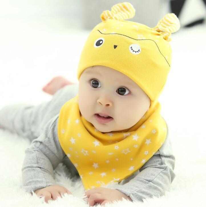 fd1fc889391 2019 Baby Bib Hat Sets Beautiful Star Baby Hat Cotton Scarf Infant Hats Set  Baby Cap Bib Infantil Caps Bebe Beanies Cartoon Bibs From Shunbaby