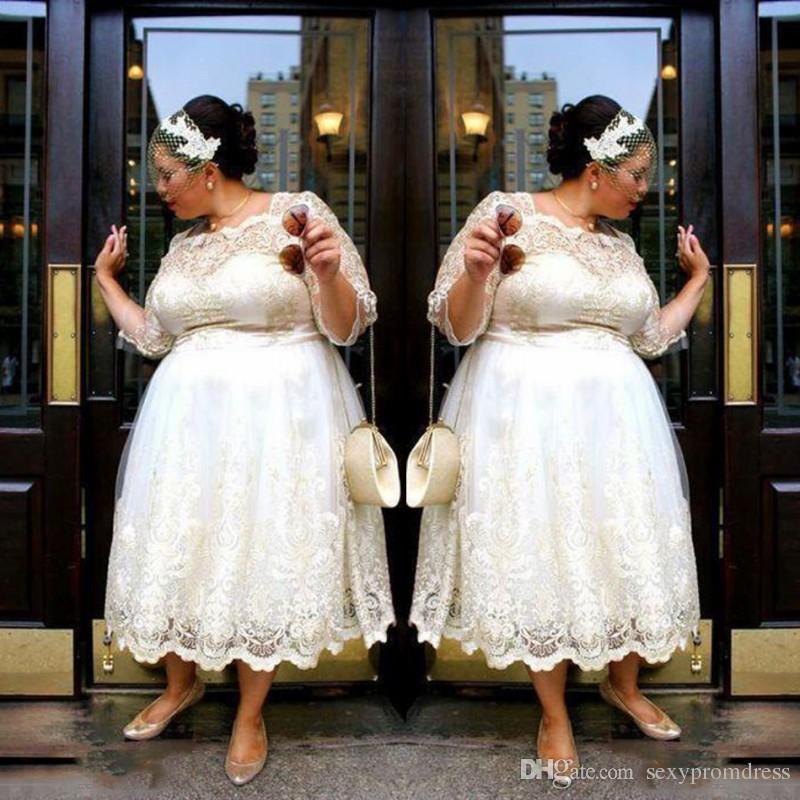 Lace Plus Size Vestidos de casamento curto 2018 Tea Length A Line Vestidos  de noiva Illusion Mangas compridas Mulheres Wedding Vestidos Custom Made  Cheap b3c739dfc853