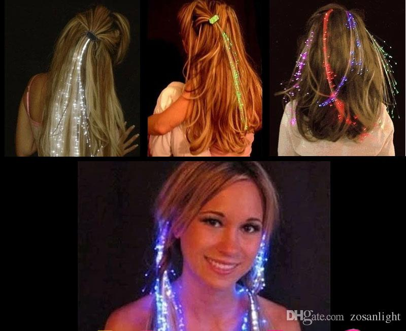 2019 HOT Colorful flashlight LED Hair Extension Flash Braid Xmas Party girl Hair Glow by fiber optic party christmas Bar KTV Night Lights