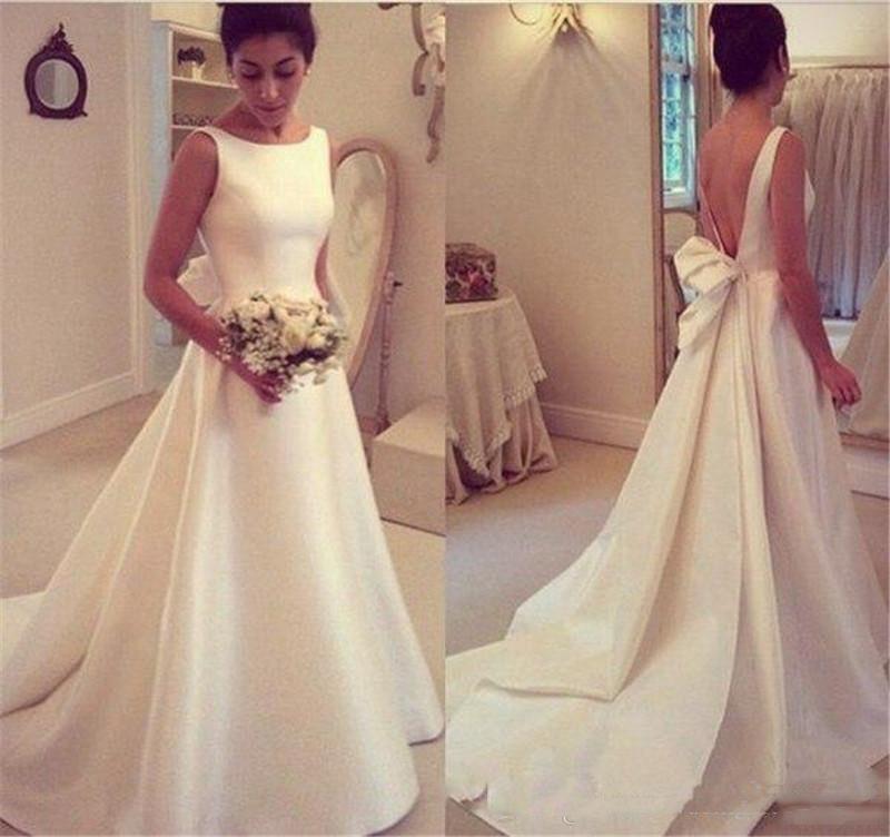 2018 hecha a mano larga de encaje simple de Bohemia Boho de vestidos de novia del hombro vestidos de la playa baratos de novia barrer de tren vestidos de boda Vestidos