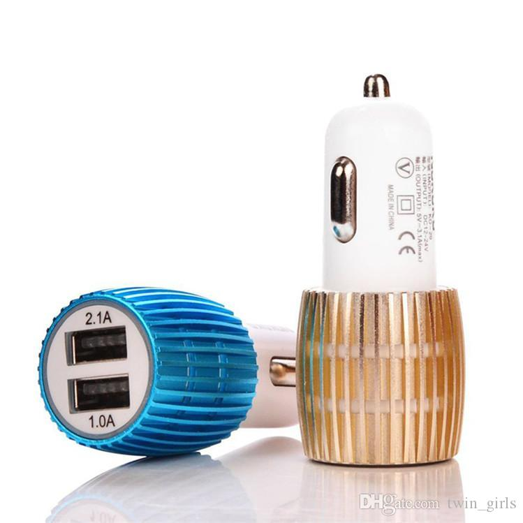 Nuovo guscio in lega di metallo con luce a led 3.1A 2.1A Adattatore caricabatteria da auto USB a doppia porta Apple iPhone 5 5S 5C 4 4S iPad Air Samsung Galaxy