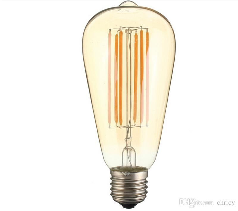 E27 ST64 LED Edison bombilla de filamento del bulbo LED de la vendimia Retro luces 2W 4W 6W 8W cálido Blanco frío AC110-240V