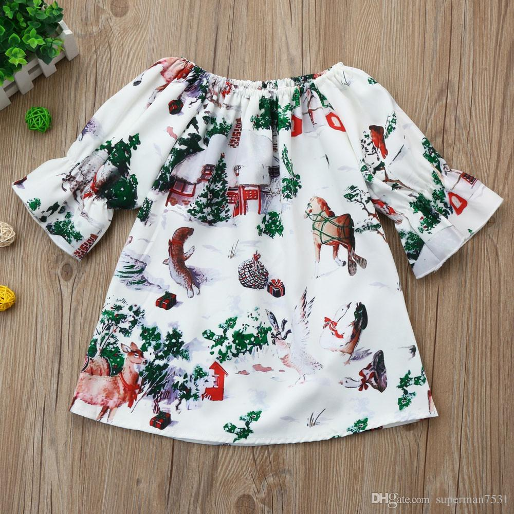 INS explosion models new girls Christmas skirt house printing children baby baby 7 points sleeve A word skirt
