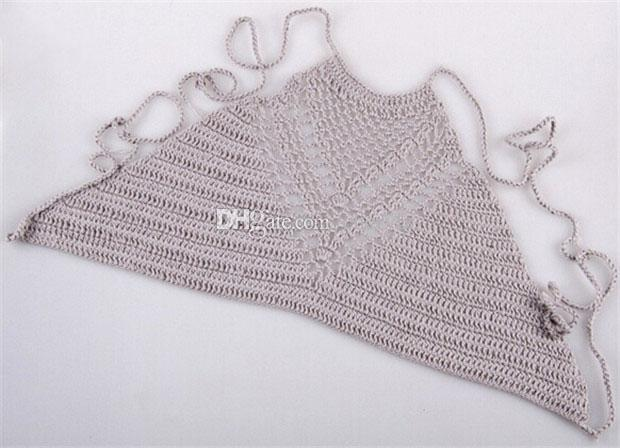 Boho Sexy Women Crochet Bustier Crop Tops Summer Beachwear Yoga Hollow Out Bikini Bra Strap Vest Tops High-Neck Halter DCBF62