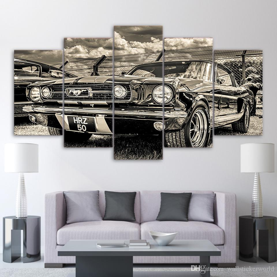 5 Panel HD Printed Framed Black And White Retro Car Modern Home Wall Decor Painting Canvas Art Painting Wall Pictures