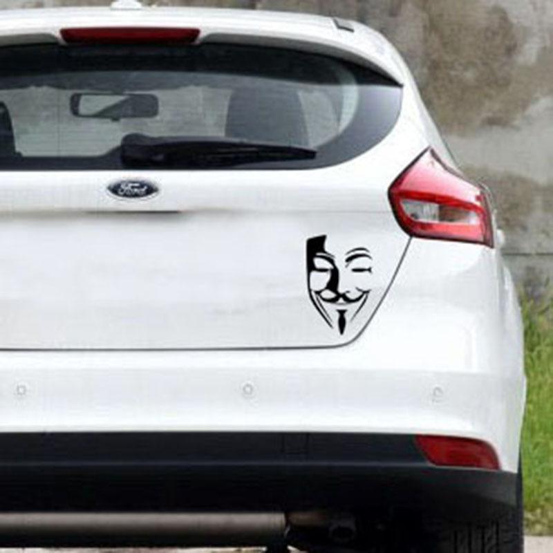 Autocollant De Voiture Anonyme Masque Sexy Homme Noir Rouge 10 * 15 cm Bizarre Sourire Visage Personnalisé Autocollant Auto Décoration Extérieure