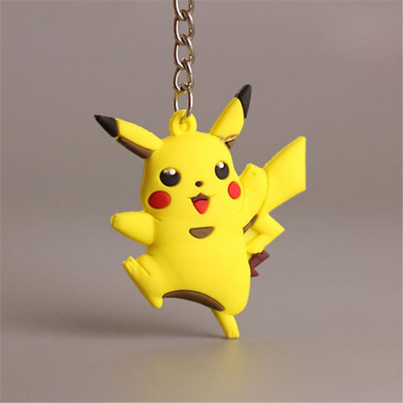 10PCS Pikachu Keychain Key Holder Key Ring Gifts Pendant PVC 3D Mini Charmander Squirtle Bulbasaur Figure Toys Key chains ring