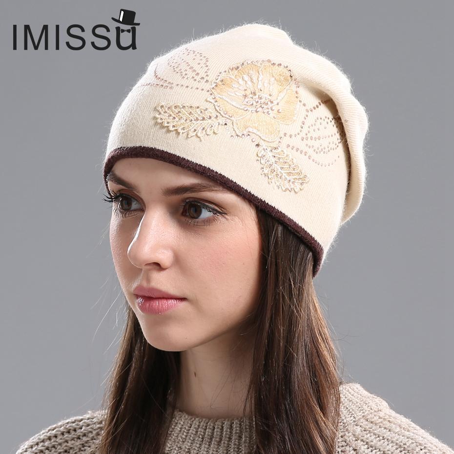 ce24878be48 Wholesale IMISSU Women S Winter Hats Knitted Wool Skullies Casual Cap With  Flower Pattern Gorros Thick Warm Bonnet Beanie Hat For Women Crochet Hat  Baseball ...