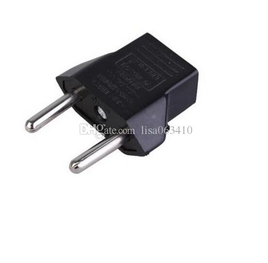 Nagelneuer schwarzer US-Standard umwandeln in EU-Stecker Adapter EU-Reise-Ladegeräte Runde Füße Ladegeräte 250V 6 A Free DHL