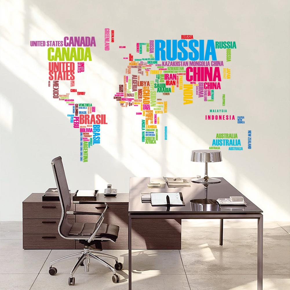 Colorful world map removable wall sticker decal mural art home colorful world map removable wall sticker decal mural art home decor owl wall decals owl wall stickers from flylife 503 dhgate gumiabroncs Choice Image