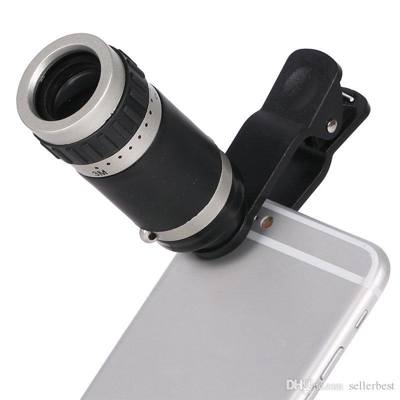 8x Zoom de visión nocturna Telescopio monocular Lente de la cámara Clip óptico de teleobjetivo para IOS Android Mobile Phone Universal