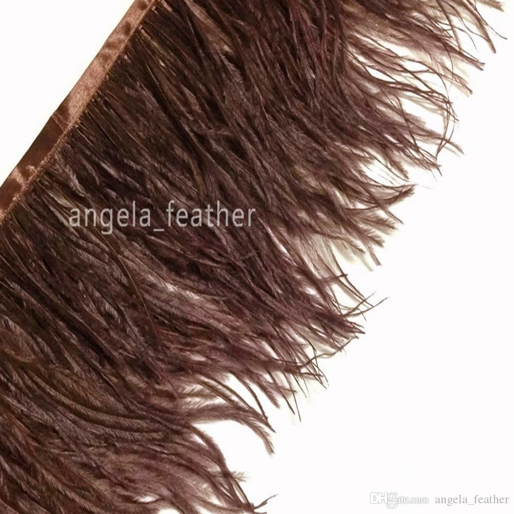 5-6inch/12-15cm Deep Brown 20yardsNatural Ostrich Feather Trimming dress decoration DIY craft feather Wedding supplies