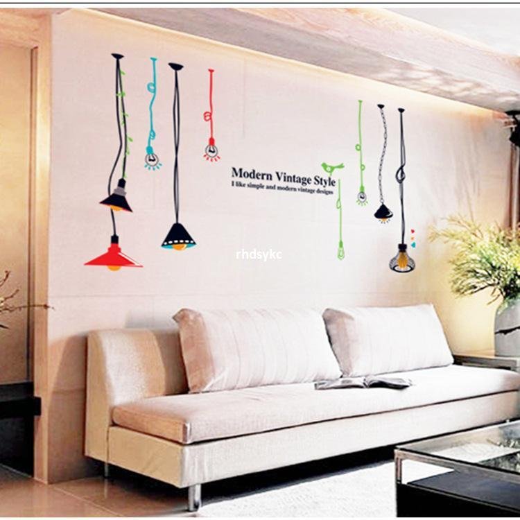 Wall Stickers Home Decoration AY9173 Multicolored Chandelier Creative Fashion Background Living Room Decorative Bar Tea Shop M