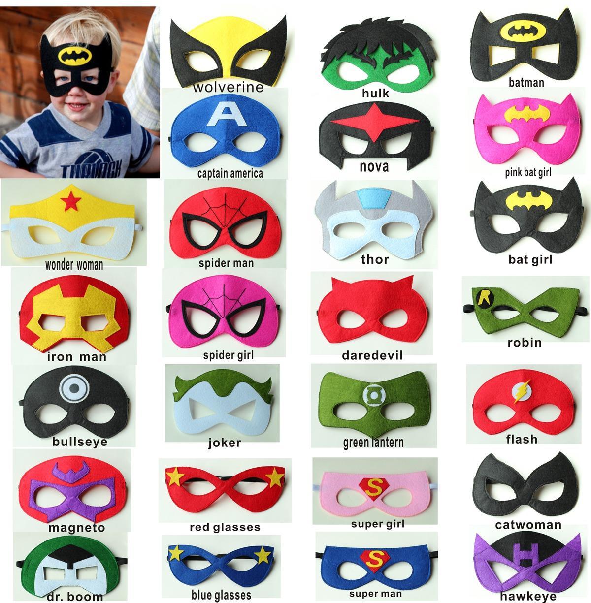 2layer Felt Superhero Mask Superman Batman Spiderman Hulk Thor ...