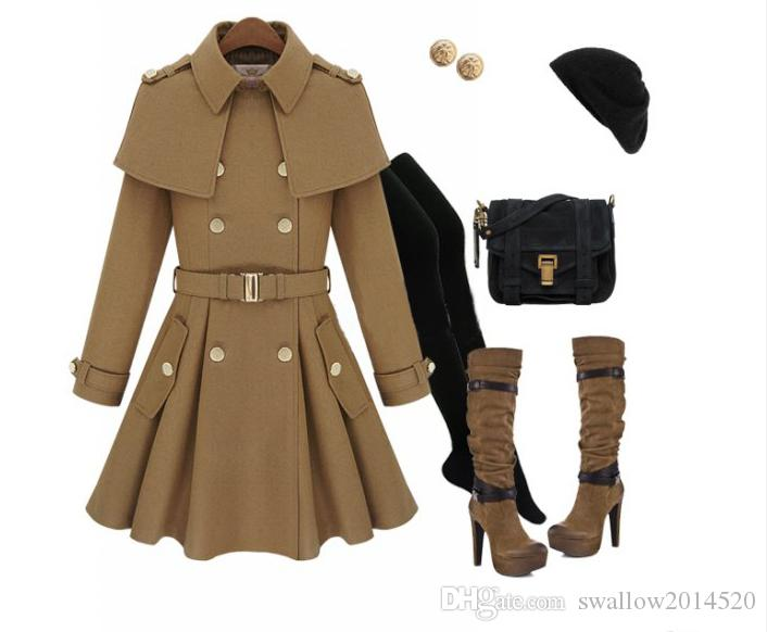 New monde slim mulheres casacos trench coats casacos femininos mulheres Outwear casaco de lã estilo Cape