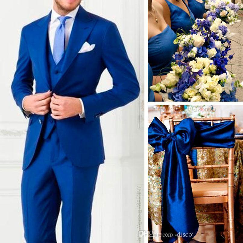 Nieuwe aankomsten Two Buttons Royal Blue Groom Tuxedos Peak Revers Groomsmen Beste Man Past Heren Bruiloft Pakken Jas + Broek + Vest + Tie H002