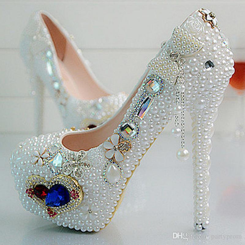 New Fashion Bride shoes ! Beautiful Vogue Crystals and Pearl High Heels Wedding Bridal Shoes