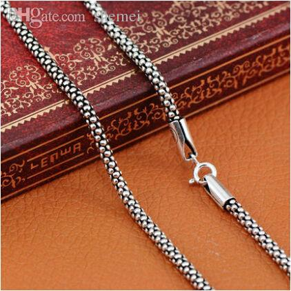 71874e8a724 2019 Wholesale Wholesale 100% Real Pure 925 Sterling Silver Necklace Women  Men Italy Chain Retro Vintage Brand Jewelry MLD307 From Shemei