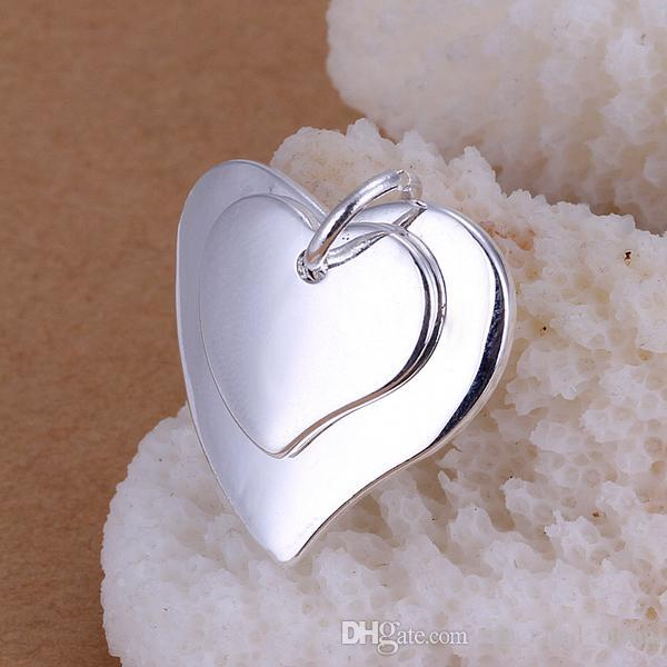 Cheap 925 Sterling Silver Plated Necklace Pendants Hot Sale Cross Heart Tag Necklace 925 Logo Jewelry Charms Pendant P057-3