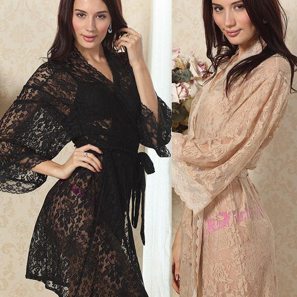 Charming Womens Lace See Through Pajamas Sexy Night Dress Gown ... 9a16382c6